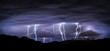 Leinwandbild Motiv night landscape with lightning