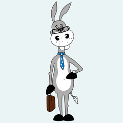 Business man donkey with suitcase and tie,  vector