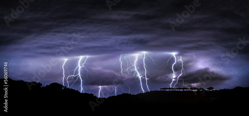 Aluminium Onweer night landscape with lightning
