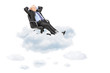 Mature businessman resting in armchair, floating on a cloud