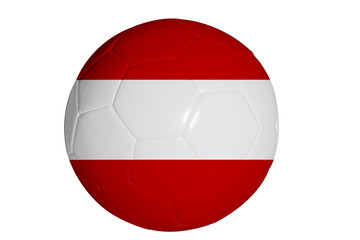 Austria flag graphic on soccer ball isolated on white