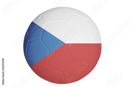 Czech republic flag graphic on soccer ball isolated on white