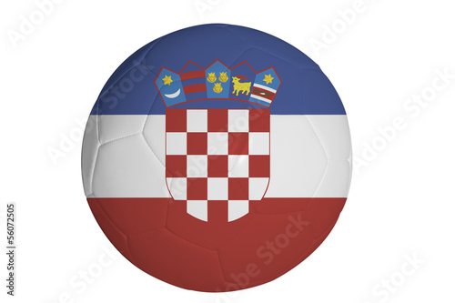 Croatian flag graphic on soccer ball isolated on white