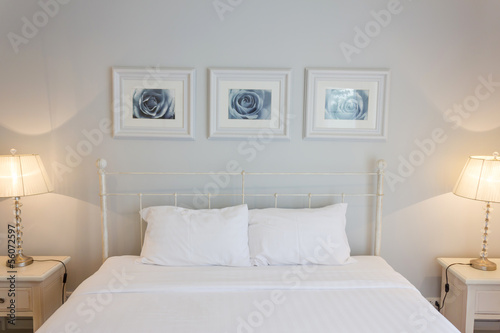 white bed room