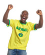 Cheering football fan from Brazil