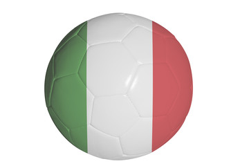 Italian flag graphic on soccer ball isolated on white