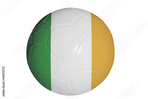 Irish flag graphic on soccer ball isolated on white