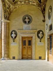 Renaissance door of Palazzo Piccolomini e delle Papess. Siena