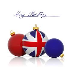 Christmas balls with United Kingdom flag isolated on white