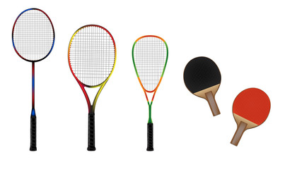 Badminton, tennis, squash and table tennis equipment vector illu