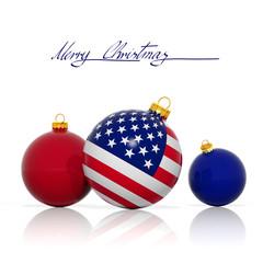 Christmas balls with USA flag isolated on white