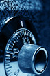 Combination lock . Dark blue colorized. Shallow DOF.