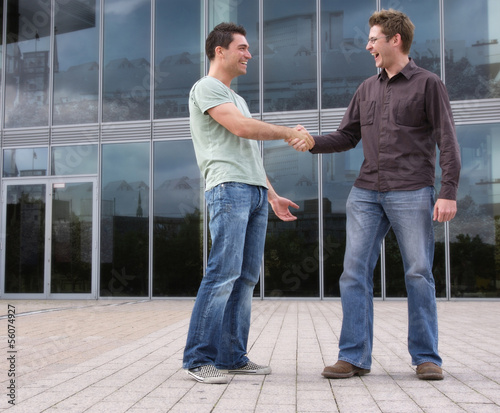 canvas print picture Two men meeting outdoors