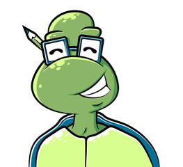 Cute Tortoise Character wearing glasses