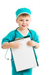 kid boy uniformed as doctor with clipboard