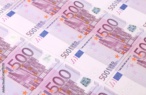 Five hundreds euro banknotes background.