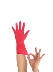 Latex Glove For Cleaning on hand.