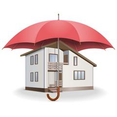 Vector Umbrella and House