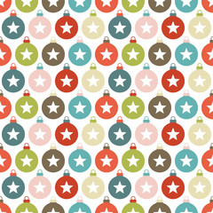 Seamless Pattern Christmas Balls Stars Retro