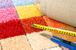 Carpeting knife, swatches and tape measure