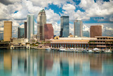 Tampa Florida skyline with sun,  clouds and reflections - 56076332
