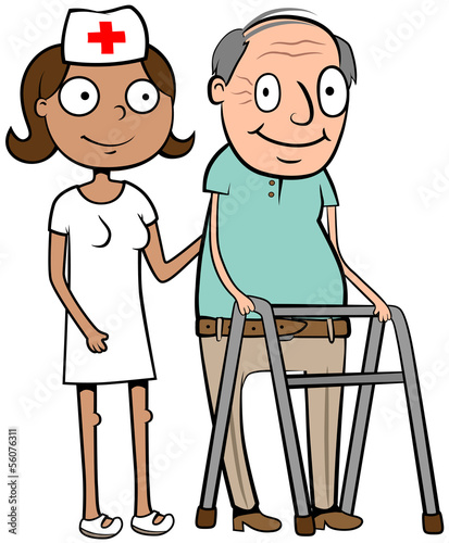 Nurse help old man walk
