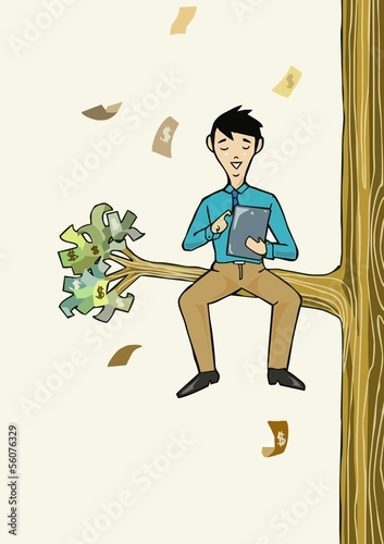 Businessman working with tablet sit under the money tree