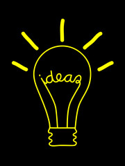 """IDEAS"" Light Bulb (innovation solutions sketch idea brain)"