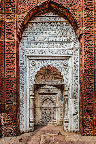 Decorated wall in Qutub complex. Delhi, India