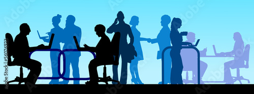 Business background with business people in office scene