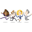 Business people, jumping, team, success, meeting
