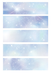 Blue  glitter banners, illustration.
