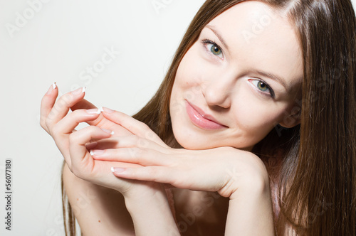 Portrait of beautiful young woman face