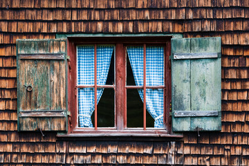 Idyllic Bavarian alpine cottage window