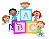 3D group of school children