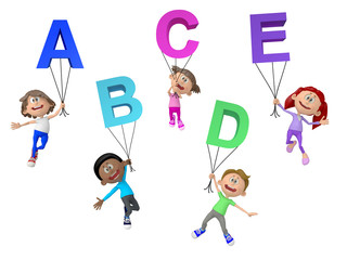 3D kids with letters of the alphabet