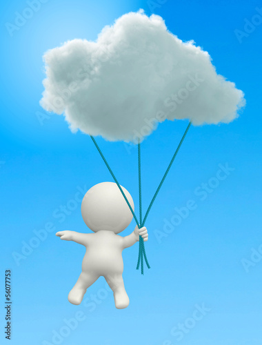 3D man hanging from a cloud