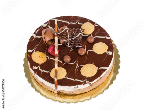 Chocolate ice cream cake with biscuits isolated