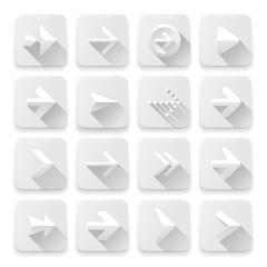 Set white arrows icons, vector Eps10 illustration.
