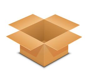 Open cardboard box on white
