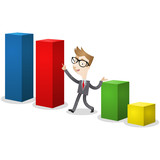 Businessman, bar chart, elections, statistics