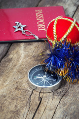 compass traveler and Christmas decorations