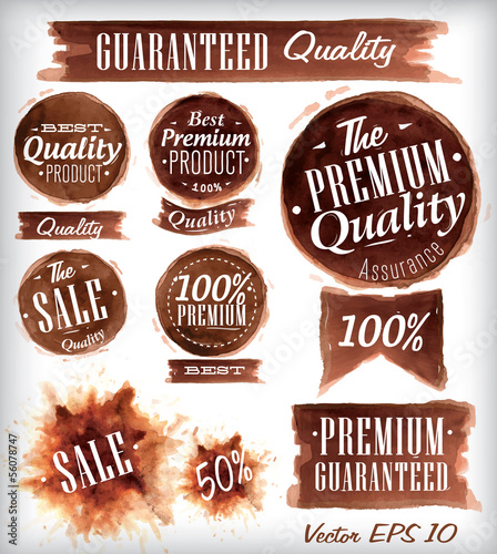 Set of watercolor Old Premium Quality Badges collection stylized