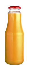 orange juice in a glass bottle