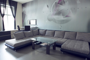 Living room with designer renovation