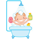 Happy cartoon baby kid in bath tub