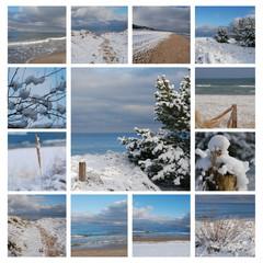 Wintercollage - verschneiter Strand