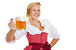 canvas print picture - Frau im Dirndl mit einem Krug Bier