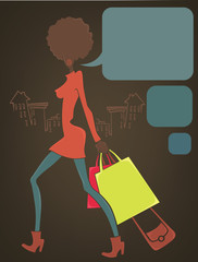 Shopping in the city, vector commercial background