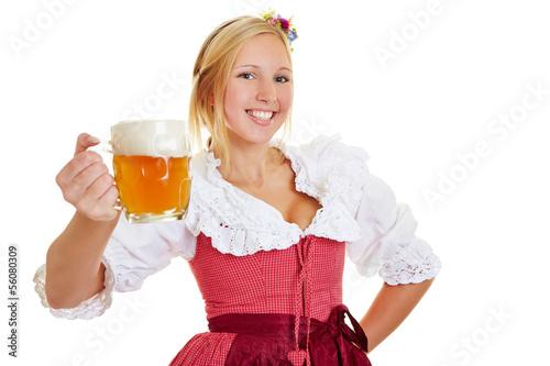 canvas print picture Frau im Dirndl mit einem Krug Bier